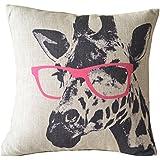Funda para cojín, 45,72 x 45,72 cm, hecho a mano, lino, diseño de jirafa con gafas rosas
