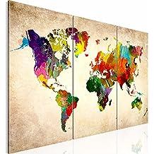 !!! SENSATIONSPREIS !!! Bilder 120 x 80 cm - Weltkarte Bild - Vlies Leinwand - Kunstdrucke -Wandbild - XXL Format – mehrere Farben und Größen im Shop - Fertig Aufgespannt !!! 100% MADE IN GERMANY !!! - Kontinent – Welt – Landkarte 1051339a