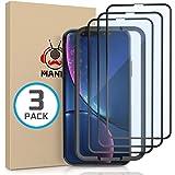 MANTO 3-Pezzi Pellicola Vetro Temperato per iPhone XR 11, HD Proteggi Schermo Durezza 9H Pellicola Protettiva con Cornice di