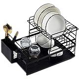 Égouttoir à Vaisselle de Cuisine Égouttoir à Vaisselle Détachable à 2 Niveaux avec porte-ustensiles de Plateau d'eau pour Ens