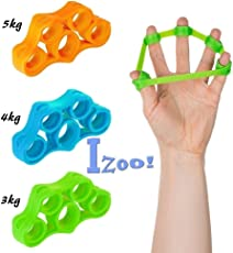 Izoo® Best Finger Exerciser 3 pcs - Resistance Bands Hand Grip Strengthener Extender Trainer Stretcher Gripper Extensor | Silicone Forearm Strength Handgrip Gym Equipment | Fitness Sports Athletes | For Rock Climbing, Tennis, Baseball, Boxing, Golf, Shooting, Musicians, Guitar, Bass Players, Pianists and Violinists | For People Suffered From Rheumatoid Arthritis, Carpal Tunnel, Tendinitis, Tennis Elbow, Fingers Muscles Pain, Injury, Broken Wrist, Tendon Surgery | Ergonomic Design | Great Gift