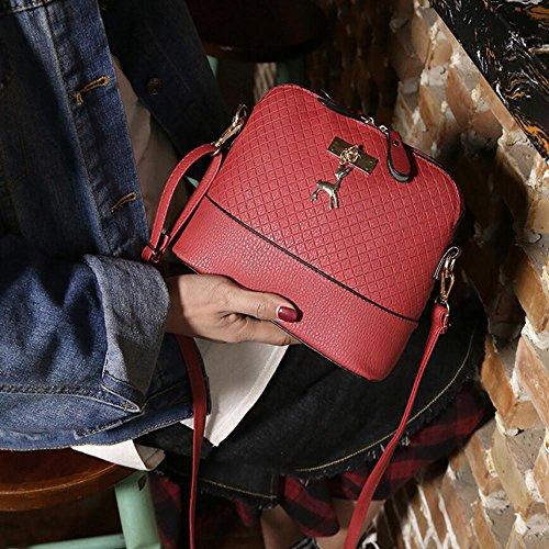 Damen PU-Leder Dirndltasche mit Reh Anhänger, Manadlian Neue Frauen Bote Jahrgang kleines Shellscript aus Elegante Handtasche lässig Kalbsleder Rot