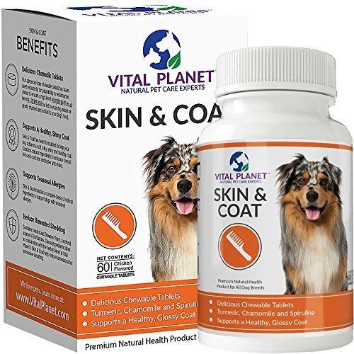 Vital Planet Haut und Fell Tabletten Kautabletten Säure Omega 3 Fette Zuschlag für Hunde ultimative Unterstützung für ein gesundes Fell 60 Tabletten Kautabletten -
