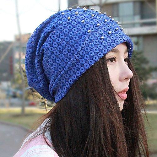 Cap enfants respirant mince automne coton chapeau serre-t¨ºte du pieu les femmes enceintes Ms.pac pac skinhead Kit Baotou,creux sont r¨¦silients code bleu, Sapphire Blue