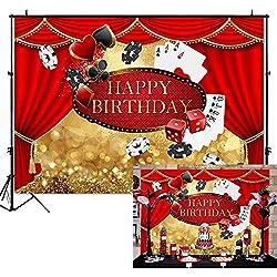 EdCott 7x5ft Las Vegas Anniversaire Toile de Fond Casino Rideau Anniversaire Photographie Fond Vinyle Casino Thème Fête d'anniversaire Bannière Toiles Personnalisé Portrait Décoration De Fête