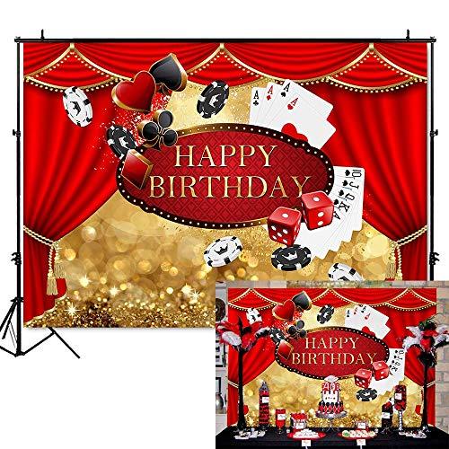 EdCott 7 x 5 ft Las Vegas Geburtstag Kulisse Casino Vorhang Geburtstag Fotografie Hintergrund Vinyl Casino Thema Geburtstag Party Banner Kulissen personalisierte Portrait Party Dekoration