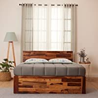 Wakefit Andromeda Sheesham Wood Platform With Storage King Bed (Solid Wooden Textured Finish_Natural)