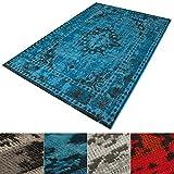 casa pura® Vintage Teppich | viele Größen | im angesagten Shabby Chic Look | für Wohnzimmer, Schlafzimmer, Flur etc. | blau (80x150 cm)