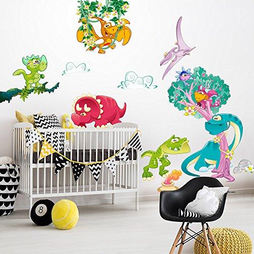 R00386 Adesivo murale per bambini Wall Art - L'era dei dinosauri - Misure 60x120 cm - Decorazione parete, adesivi per muro, carta da parati