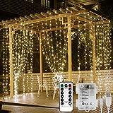 LE Rideaux Lumineux 3m*3m 300 LEDs, Alimenté par USB ou Piles, Guirlandes Lumineuses Blanc Chaud 8 Modes Dimmable avec Télécommande pour Mariage, Chambre, Fenêtre, Jardin, Terrasse, Pergola, etc.