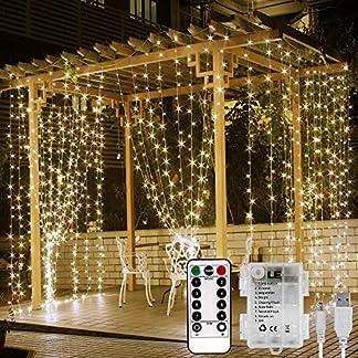 LE Cortina Luces LED USB o PILAS, 3m*3m 300 LED, Mando incluido (8 modos, Intensidad Regulable, Temporizador), Resistente al agua