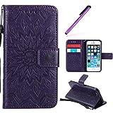 HMTECH iPhone 6S Plus Coque Slim Housse Case Cover Étui de Protection PU Cuir Housse Coquille avec Magnétique Fonction Stand pour iPhone 6S Plus/6 Plus 5.5 Pouce,Purple Sunflower for KT