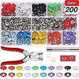 TOPCRAZY 200 Sets Druckknöpfe,10 Farben Nähfrei Buttons Hohle Feste Knöpfe Werkzeug 9,5mm metallknopf,für Baby kinderkleidung nähen Handwerk, handgemacht, Kleidung reparaturen, DIY Kleidung