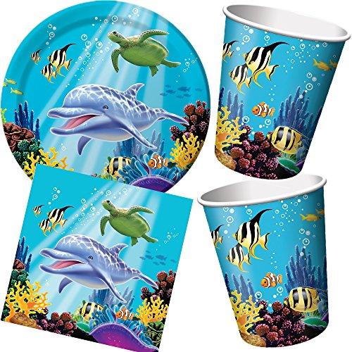 Lot de 32 * avec assiettes + gobelets + serviettes + décorations de fête * Océan/corail/Anniversaire Party Ensemble de vaisselle jetable décorative de fête Thème océan dauphin Poisson Clown Mer Corail