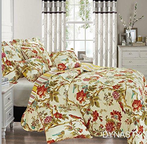 THL Tagesdecke, Patchwork 2Kissen Sham/Quilt 3-teiliges Set Größe 235x 250cm Doppelbett/King Size Dynasty (Gedruckte Bett-set)