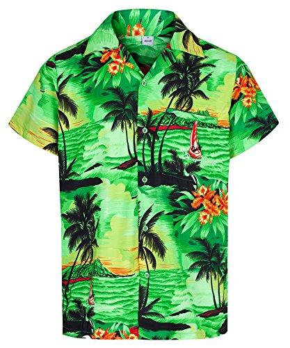 - Herren Hawaiihemd - kurzärmelig - Aloha Summer - Verkleidung Junggesellenabschied - alle Größen - Grün - XXL ()