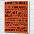 Bathroom Rules Wall Art Box Canvas - Burnt Orange A3 12x16 inch
