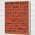 Bathroom Rules Wall Art Box Canvas - Burnt Orange A3 12x16 inch