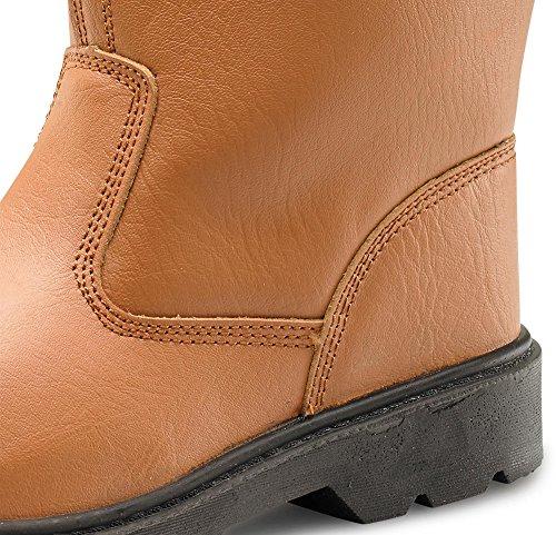 Click Workwear, antiscivolo, statica di sicurezza Rigger-Stivali da lavoro, in pelle Marrone (Tenné)