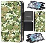 CoverFix Premium Hülle für Samsung Galaxy S7 Edge G935F Flip Cover Schutzhülle Kunstleder Flip Case Motiv (296 Totenköpfe Grün Weiß)