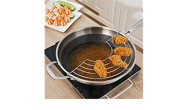 S Bigsweety Stainless Steel Oil Draining Rack Pot Steamer Frying Tray Kitchen Cooking Fry Steaming Mesh Shelf Strainer for Fry Pan