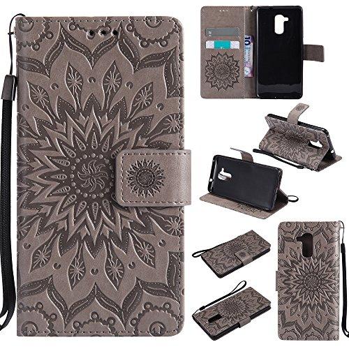 Lomogo Huawei GT3 Hülle Leder Blumenprägung, Schutzhülle Brieftasche mit Kartenfach Klappbar Magnetverschluss Stoßfest Kratzfest Handyhülle Case für Huawei GT3 / Honor 5C - KATU22607 Grau