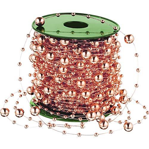 Vorhang Perlen, 98 Fuß Rose Gold String Perlen Perle Kette Kunststoff Garland Hochzeit Perlen Weihnachtsbaum Perlen für Handwerk Tisch Dekoration Schmuck machen - String Kunststoff-handwerk