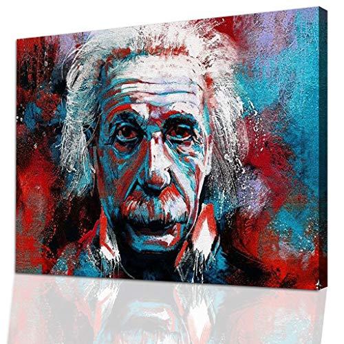 DotComCanvas Einstein Wandbild - Albert Einstein Fan Dekoration - Modernes Street-Art Wandbild auf Leinwand - Bunte Pop Up Kunst (Einstein-bild)