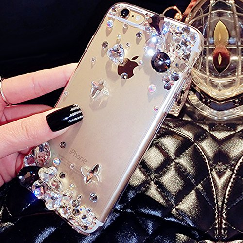 Paillette Coque Housse Etui pour iPhone 7 Plus/8 Plus,iPhone 8 Plus Coque en Silicone Glitter,iPhone 7 Plus Silicone Coque Couleur Diamants pour Femme Fille Transparent Etui Gel Slim Case Soft Gel Cov Diamant-Noir