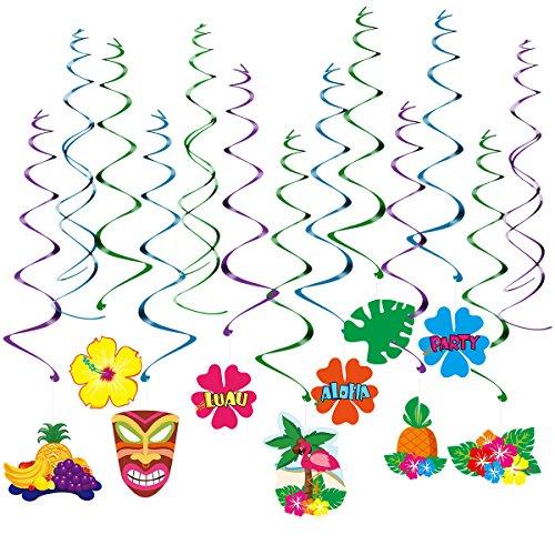 LUOEM Hawaii Dekorationen Luau Party wirbelt Hängende Verzierung Sommer Party Supplies, Pack von 30