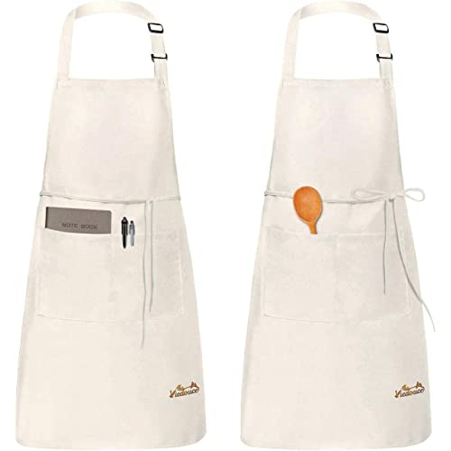 Viedouce 2 Pezzi Grembiule da Cucina Chef,Grembiule da Ristorante BBQ Bar Chef Cucina,Regolabile Grembiuli con Tasche Chef di Cucina,Impermeabile,Gembiule Cucina Uomo Donna (Beige)