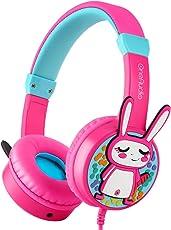 OneOdio Kinder Kopfhörer Gehörschutz mit 85 db mit Lautstärkebegrenzung & Musik Teilen Funktion Dreidimensional Kaninchen Kinderkopfhörer On Ear Headset 3.5mm Kabelgebundene Leicht Kopfhörer