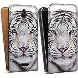HTC Desire 510 Tasche Hülle Flip Case Schneetiger Weißer Tiger