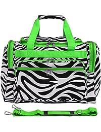 World Traveler Zebra Print Duffle Bag, Black And White With Green Trim