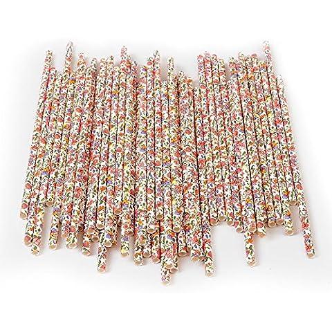 Floral Paper Straws - Alink Flower Design Vintage Drinking Straws for Home Garden Tea Party Shower by