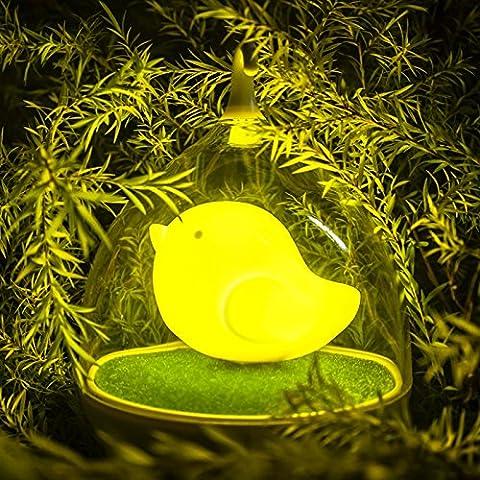 HJHGE Regalos de Navidad Creative Smart Touch sensor palmas en forma de jaula de carga USB , pequeña luz nocturna Yellow Bird