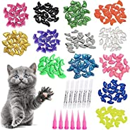 100pcs Cat Nail Caps, Colorful Pet Cat Soft Claws Nail Covers for Cat Claws