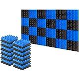 Arrowzoom 24 Acoustic Foam Tiles Pyramid Acoustic Sound Absorbing Treatment Panels Fire Retardant Blue Black 25x25x5cm
