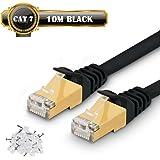 10m Câble Ethernet CAT7 Câble Réseau RJ45 10Gbps 750MHz STP Blindage Compatible Cat5/Cat5e/Cat6/Cat6a pour Routeur,Switch,TV