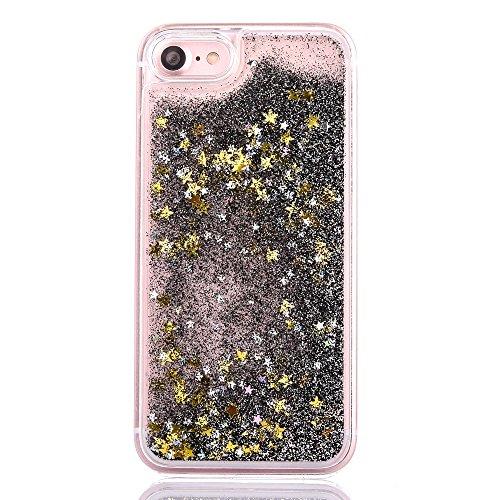 iPhone 7 Plus Hülle,Mo-Beauty® Schutzhülle iPhone 7 Plus Hülle Transparent Hardcase,Dynamisch Treibsand Flüssige Fließend Wasser Schutzhülle 3D Kreative Liquid Bling Hülle Case Glitzer Glitter Shiny G Black,Gold star