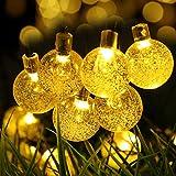 Lamker LED Solar Lichterkette Blüten 6.35M 30 LED Außenlichterkette Kristall Kugel Beleuchtung für Außen Innen Outdoor Garten Party Haus Hochzeit Weihnachten Terrasse Camping Hof Feier Festakt Deko -Warmweiß