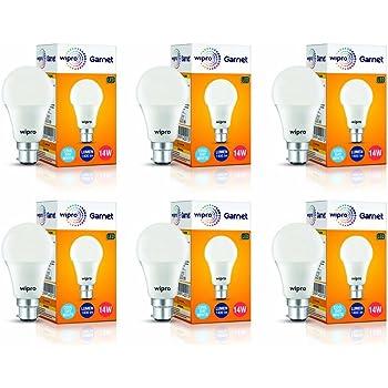 Wipro Garnet Base B22 14-Watt LED Bulb (Pack of 6, Cool Day Light)