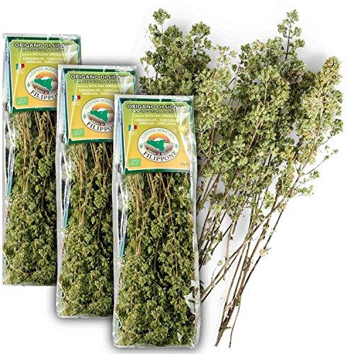 Original Italienischer Bio Oregano aus Sizilien (ganze Blüten) an Zweigen Oreganozweige getrocknet 3x 25G (ideal auch für Präsentkörbe)