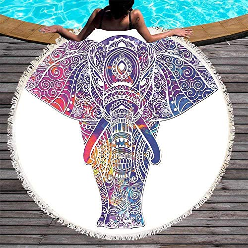 Toalla de Playa Redonda de Elefante, Yoga Impresa con Manta de Borla,...