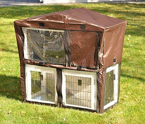 nanook Schutzhülle Wetterschutz Hasenstall Kaninchenstall für Serie Idefix natur und grau, wetterfest, 90 x 50 x 100 cm