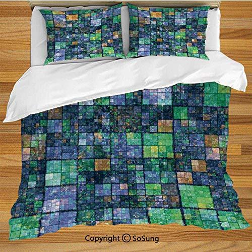 Soefipok Moderne Bettwäsche Bettbezug Set, Mosaik geometrisches Design mit Regenbogenfarben Patchwork wie Design Artwork dekorative 3-teilige Bettwäsche Set mit 2 Pillow Shams, blau, gelb und grün -
