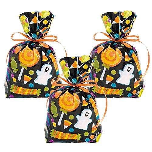 12 x Beutel Tüte Halloween Cellophane Geschenk Zellophan Mitgebsel Naschtüte Geschenktüte Geburtstag Party (Halloween Beutel)