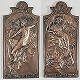 Verano & Winter Art Deco bronce pared placa par Vintage arte frío fundido resina Escultura para pared h26.5cm