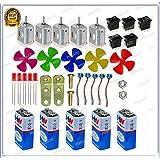 Pgsa2Z Science Projects Kit For DIYToy Motor,9V Battery , Mini 4Wing Fan,9V Battery Snap,Swichs,& LEDs (5Pcs Each)