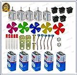 #5: Pgsa2Z Science Projects Kit For DIYToy Motor,9V Battery, Mini 4Wing Fan,9V Battery Snap,Swichs,& LEDs (5Pcs Each)